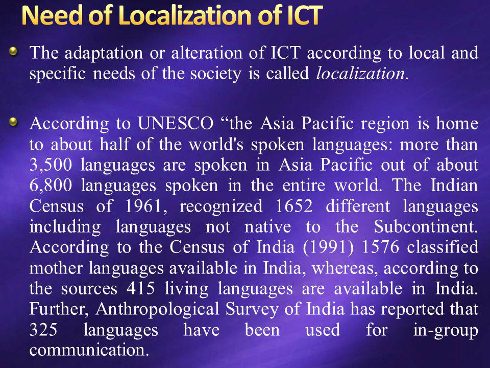 Need of Localization of ICT