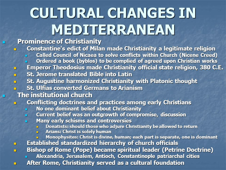 CULTURAL CHANGES IN MEDITERRANEAN