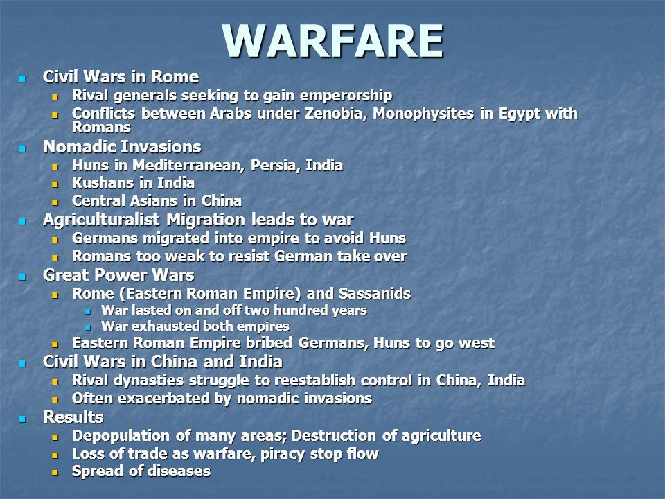 WARFARE Civil Wars in Rome Nomadic Invasions