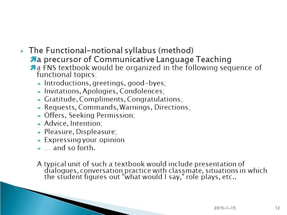 The Functional-notional syllabus (method)