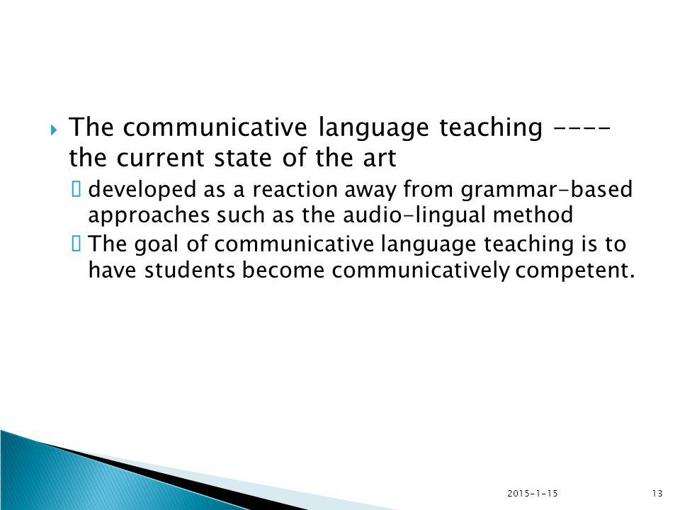 The communicative language teaching ---- the current state of the art
