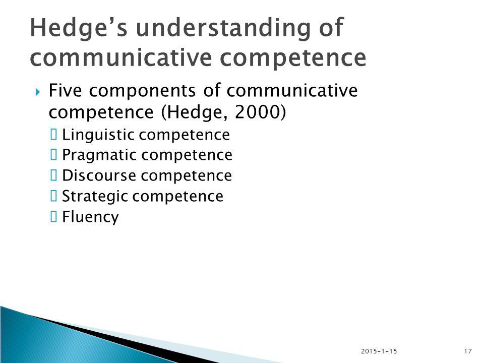 Hedge's understanding of communicative competence