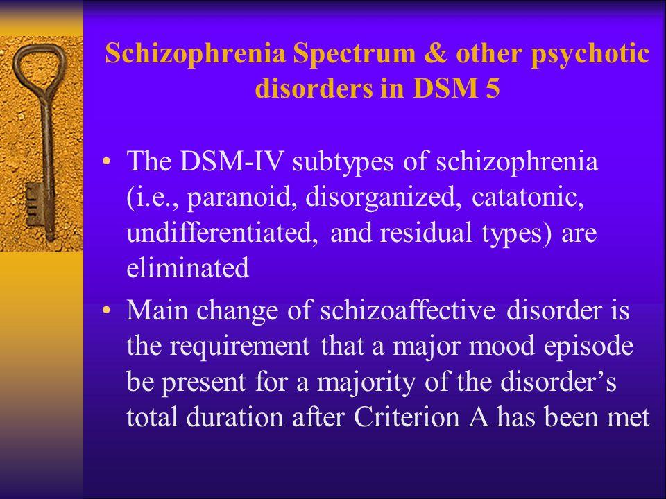 Schizophrenia Spectrum & other psychotic disorders in DSM 5