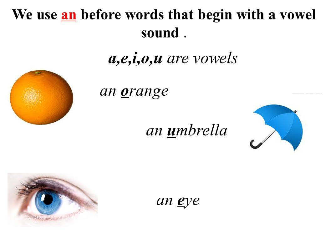 We use an before words that begin with a vowel sound .
