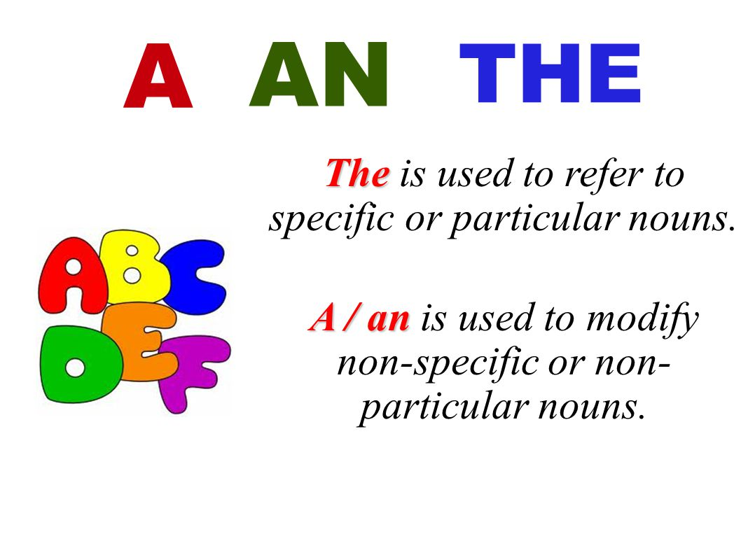 AN A THE The is used to refer to specific or particular nouns.