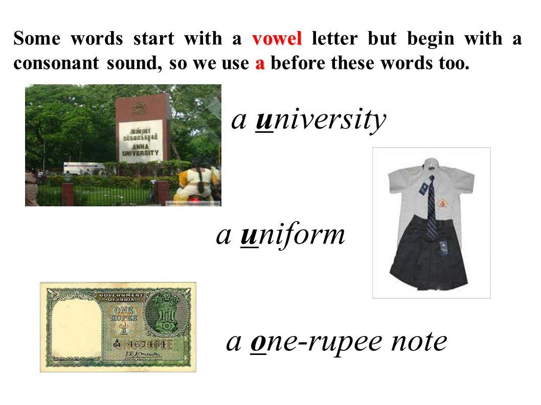 a university a uniform a one-rupee note