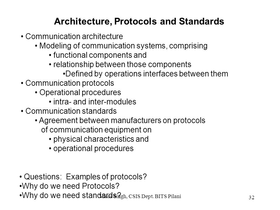 Architecture, Protocols and Standards