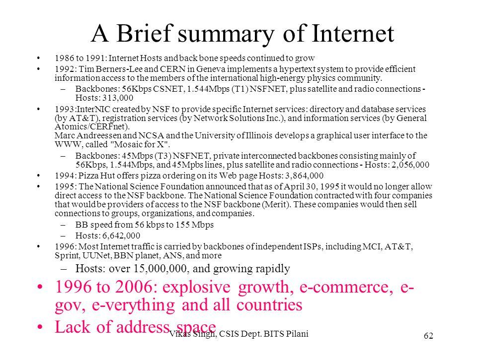 A Brief summary of Internet
