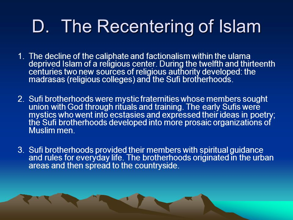 D. The Recentering of Islam
