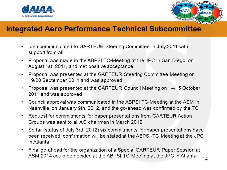 Integrated Aero Performance Technical Subcommittee