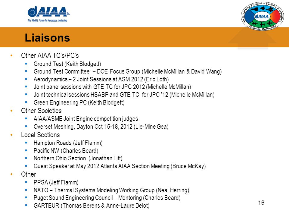 Liaisons Other AIAA TC's/PC's Other Societies Local Sections Other