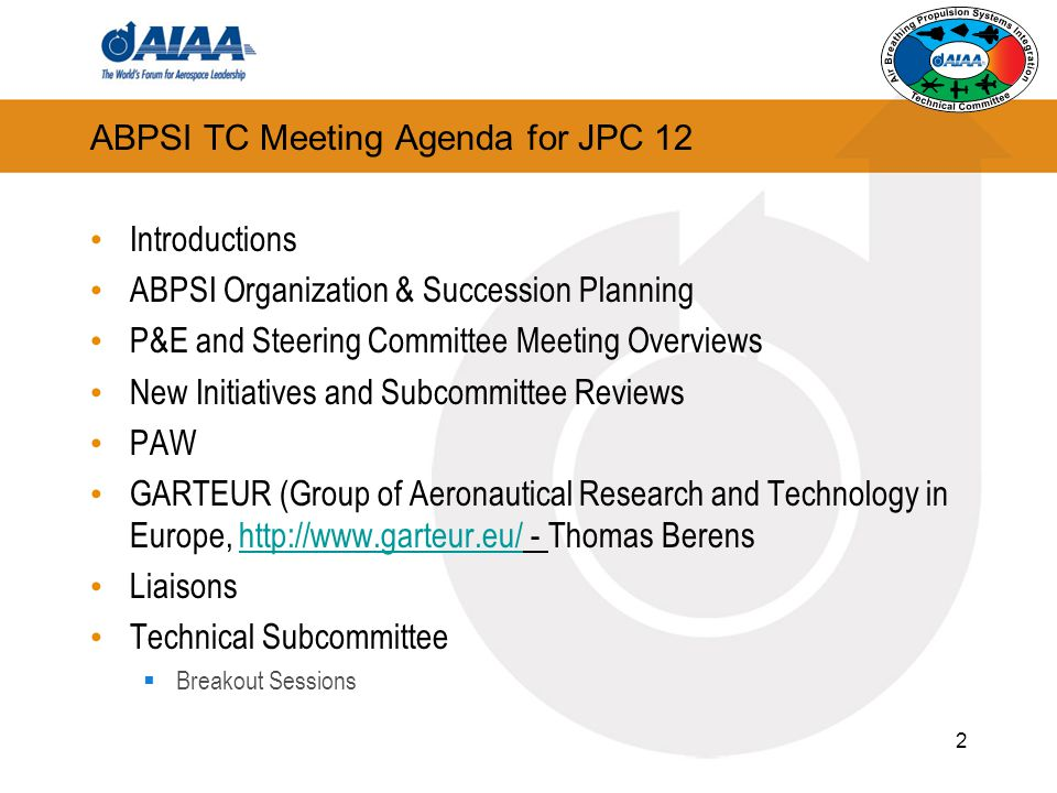 ABPSI TC Meeting Agenda for JPC 12