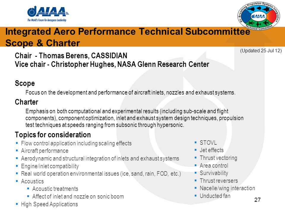 Integrated Aero Performance Technical Subcommittee Scope & Charter