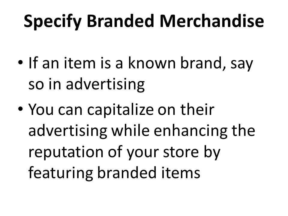 Specify Branded Merchandise