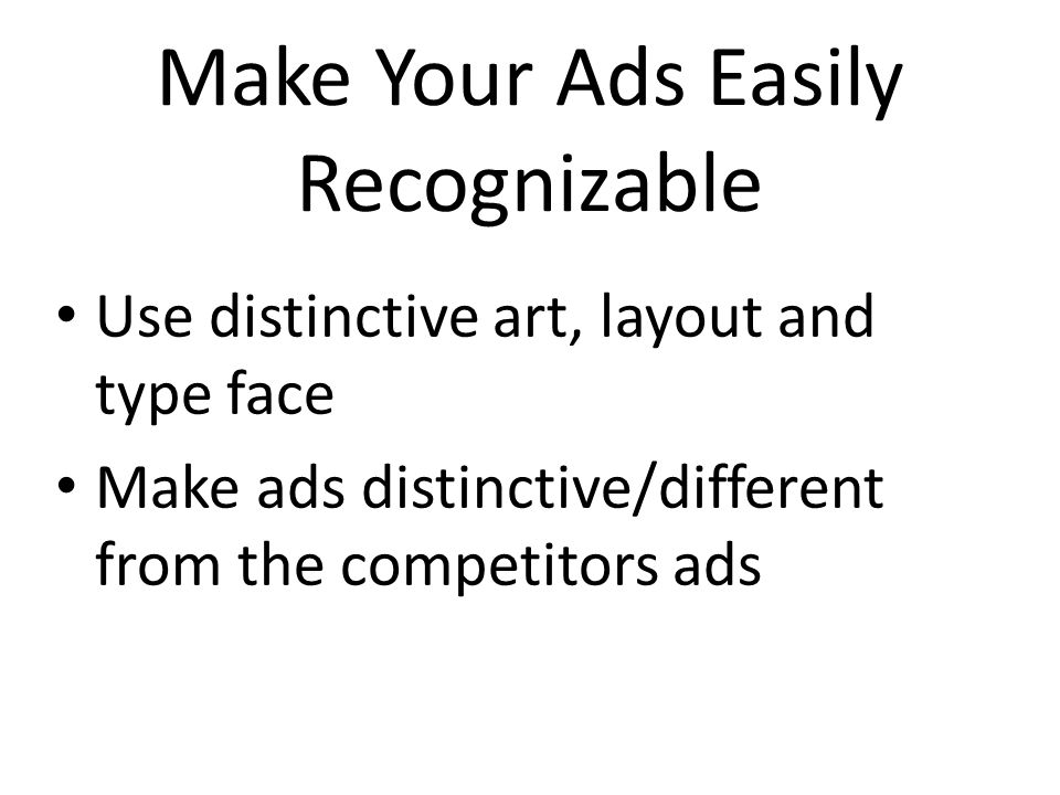 Make Your Ads Easily Recognizable