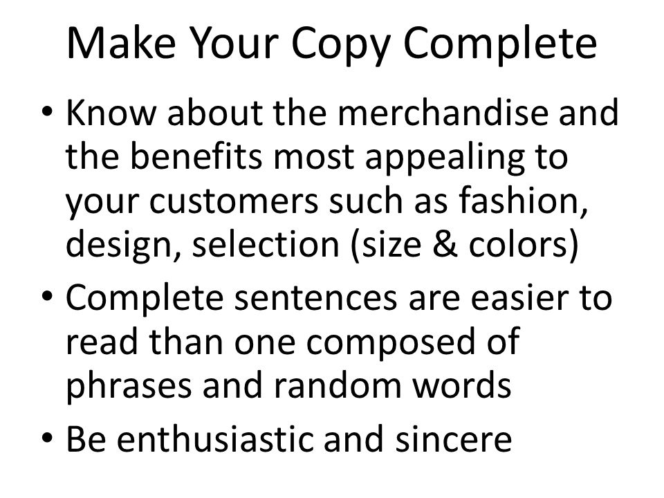 Make Your Copy Complete