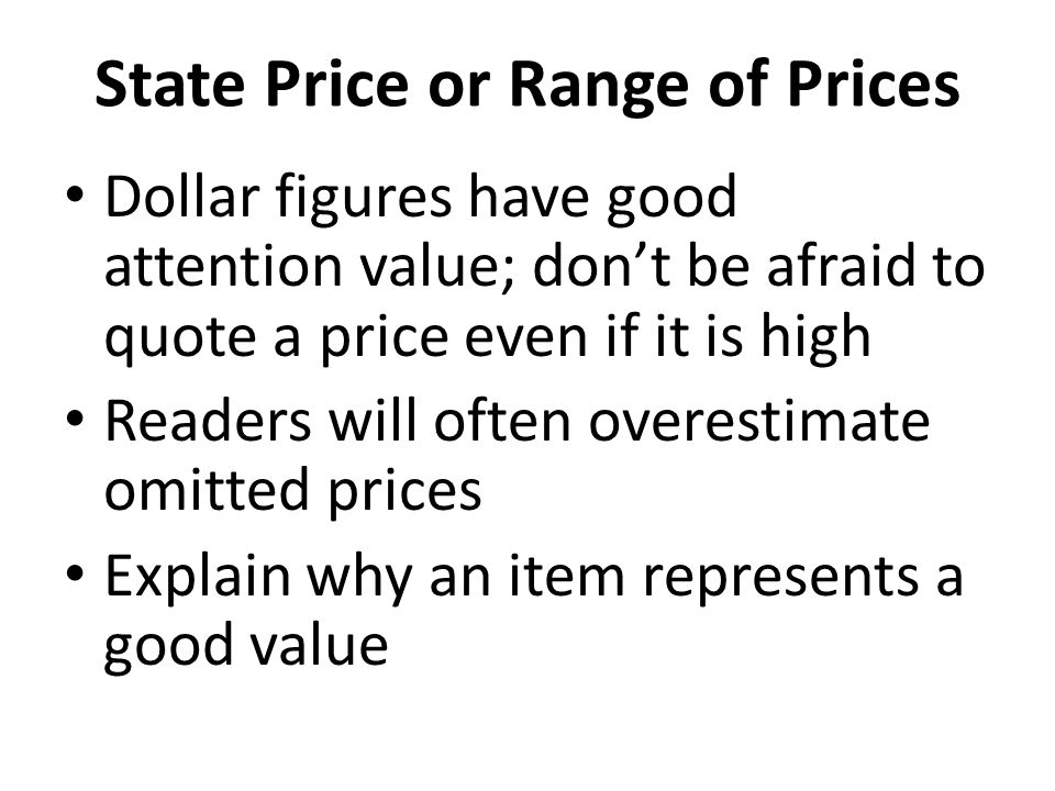 State Price or Range of Prices