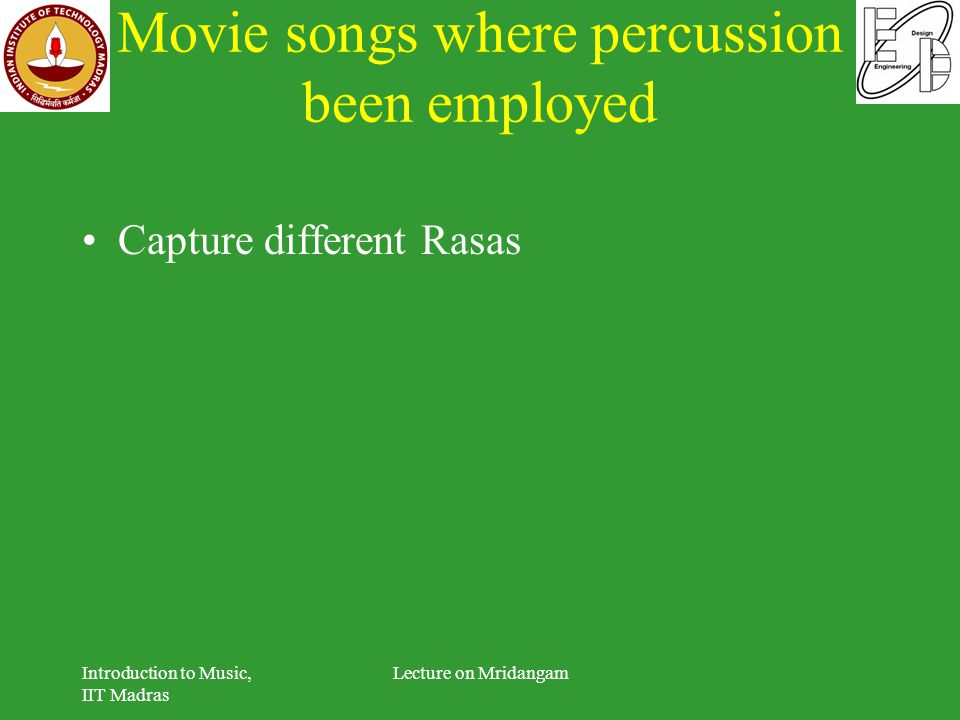 Movie songs where percussion been employed