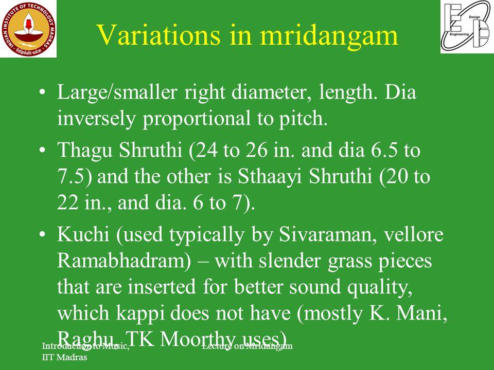 Variations in mridangam