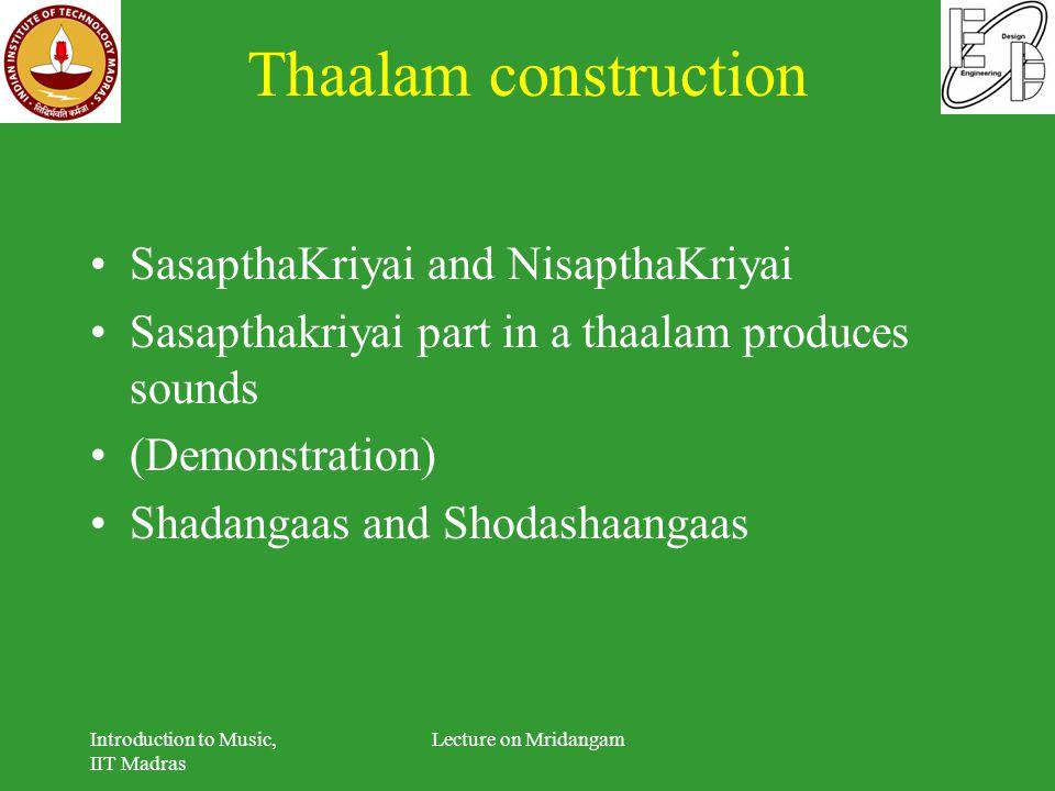 Thaalam construction SasapthaKriyai and NisapthaKriyai