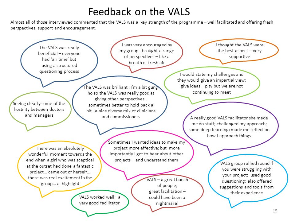 Feedback on the VALS