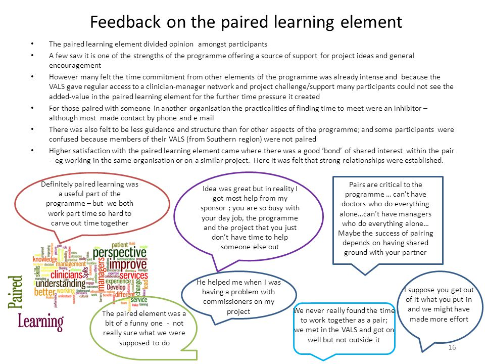 Feedback on the paired learning element