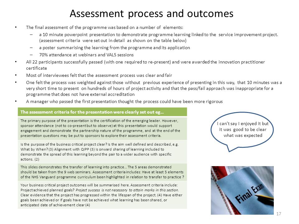 Assessment process and outcomes