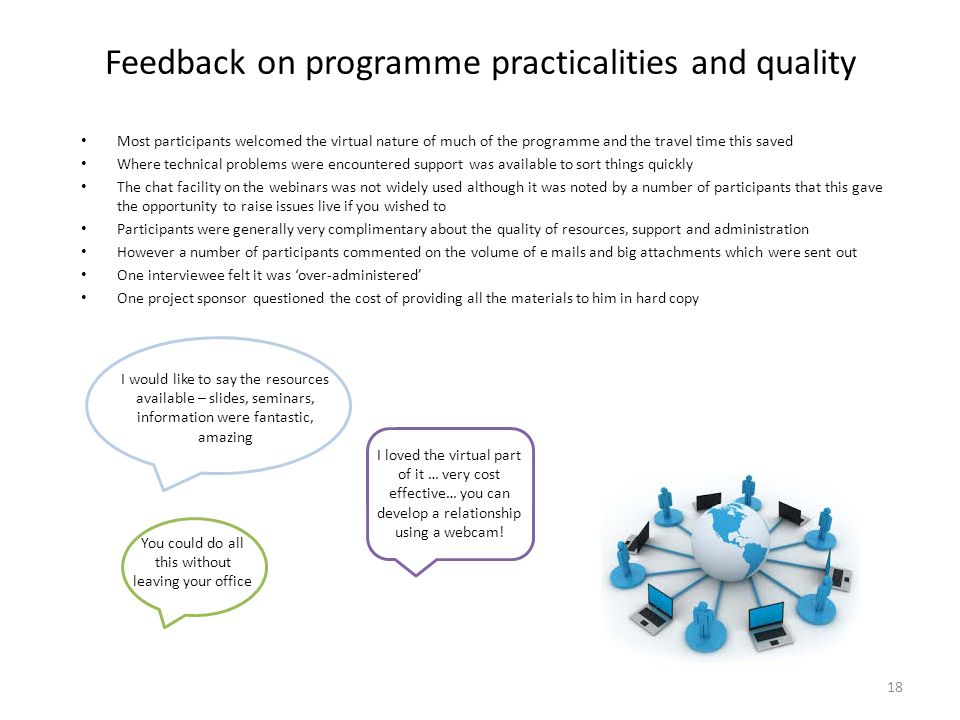 Feedback on programme practicalities and quality