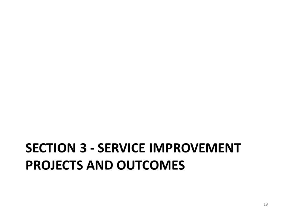 Section 3 - Service improvement projects and outcomes