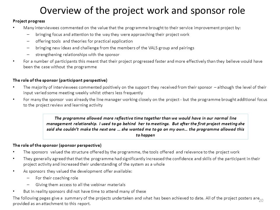 Overview of the project work and sponsor role