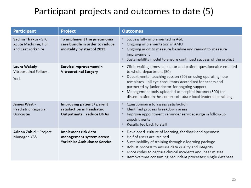 Participant projects and outcomes to date (5)