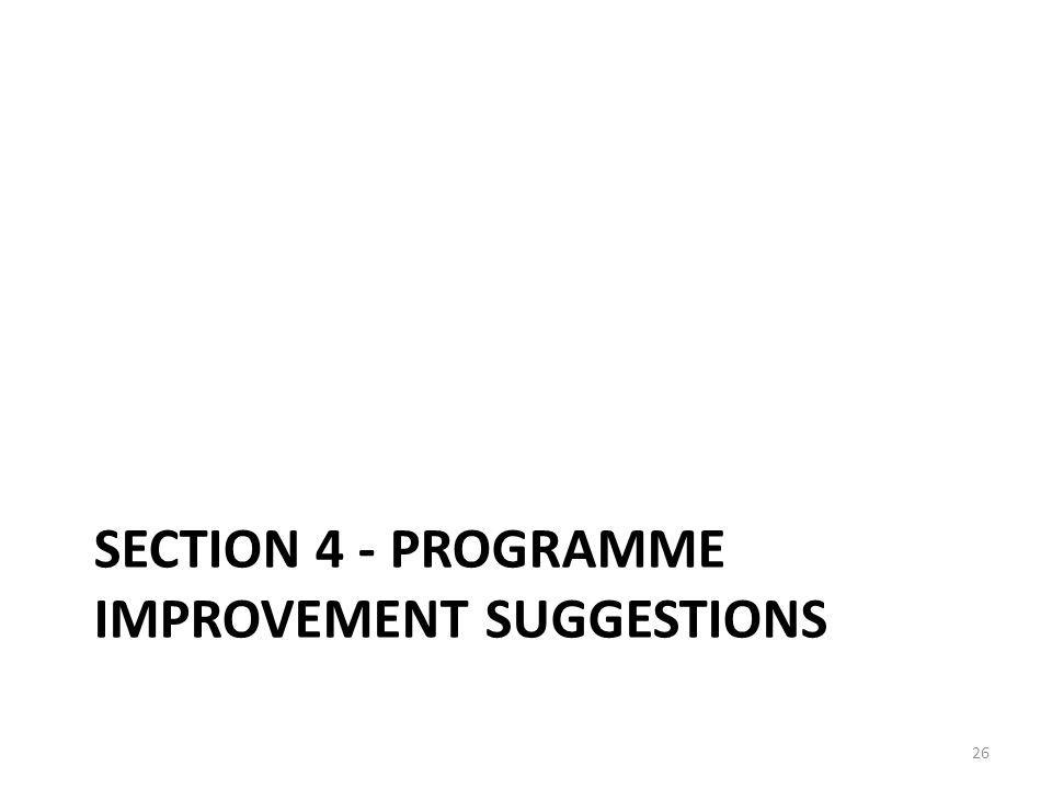 Section 4 - Programme Improvement suggestions