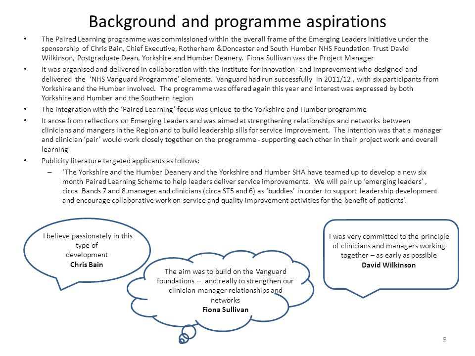 Background and programme aspirations