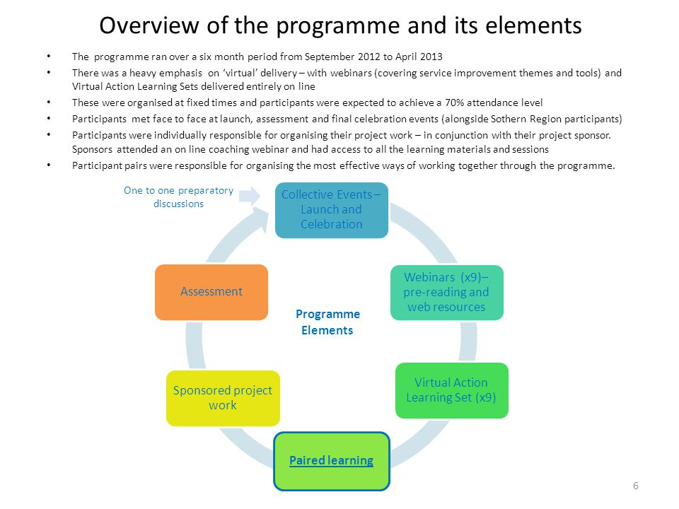 Overview of the programme and its elements