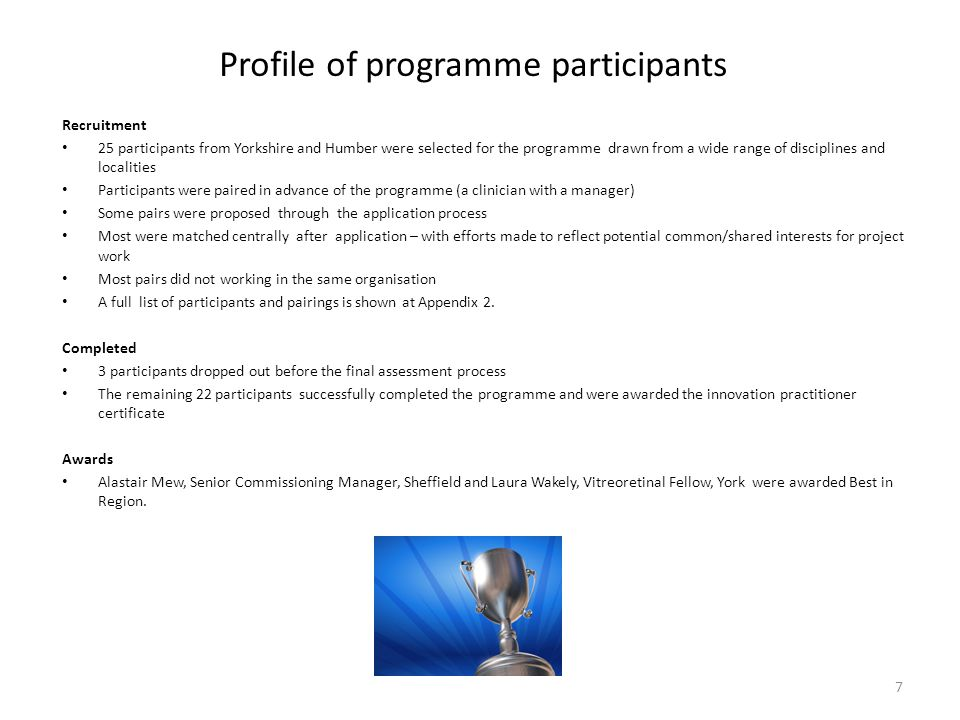 Profile of programme participants
