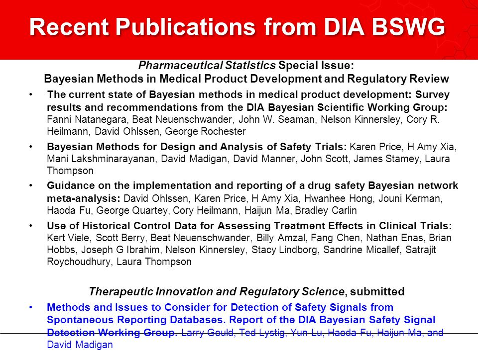Recent Publications from DIA BSWG