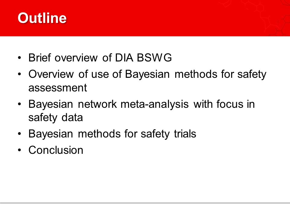 Outline Brief overview of DIA BSWG