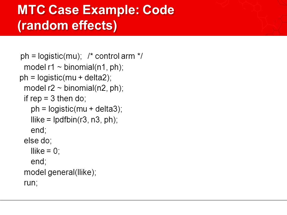 MTC Case Example: Code (random effects)