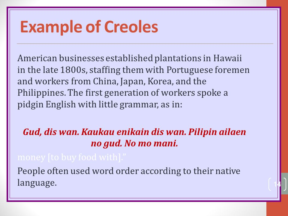 Example of Creoles