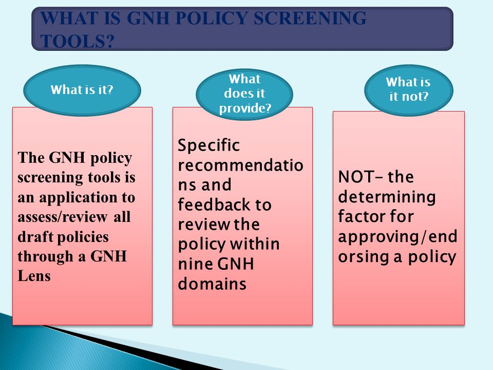 WHAT IS GNH POLICY SCREENING TOOLS