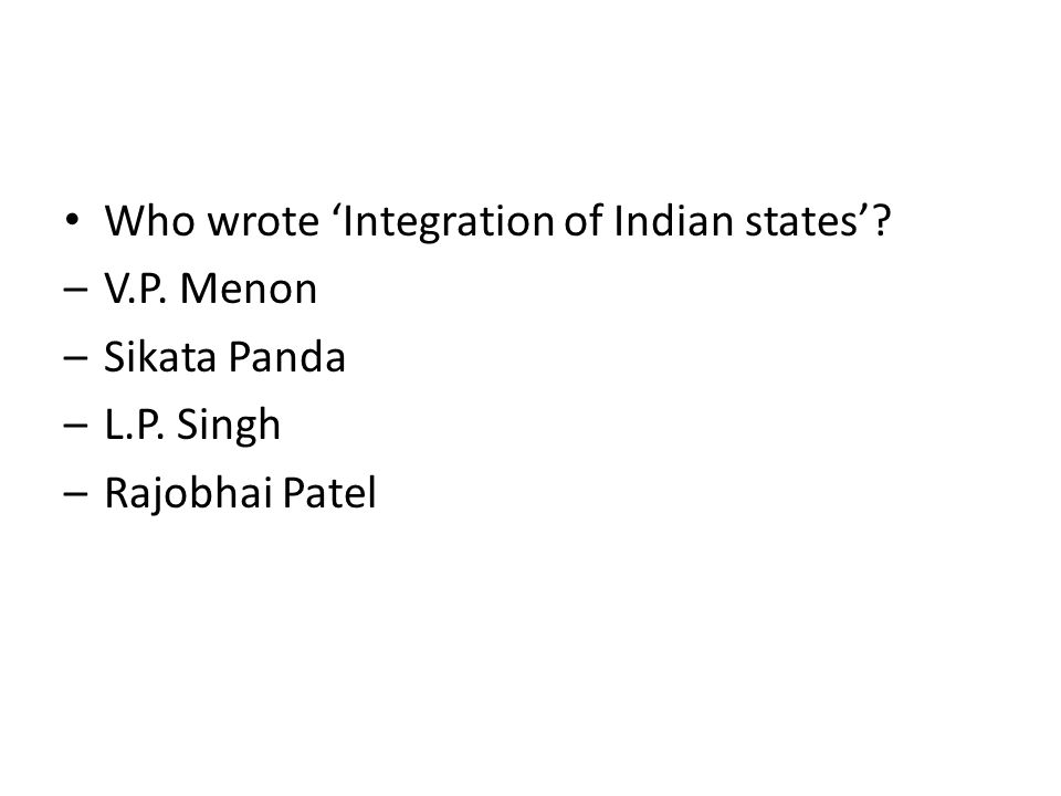 Who wrote 'Integration of Indian states'