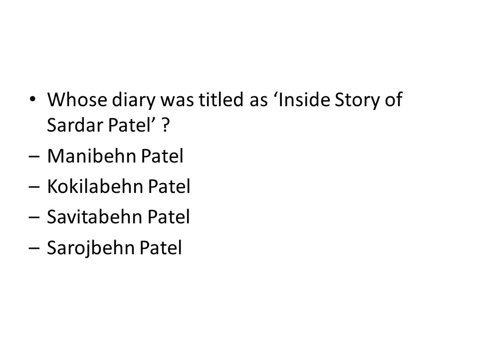 Whose diary was titled as 'Inside Story of Sardar Patel'