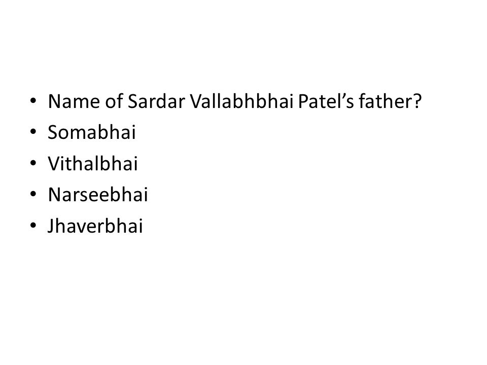 Name of Sardar Vallabhbhai Patel's father