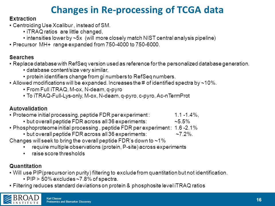 Changes in Re-processing of TCGA data