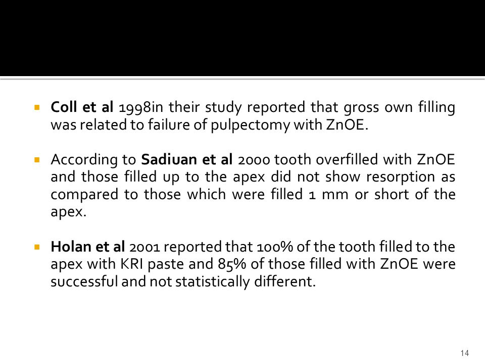 Coll et al 1998in their study reported that gross own filling was related to failure of pulpectomy with ZnOE.