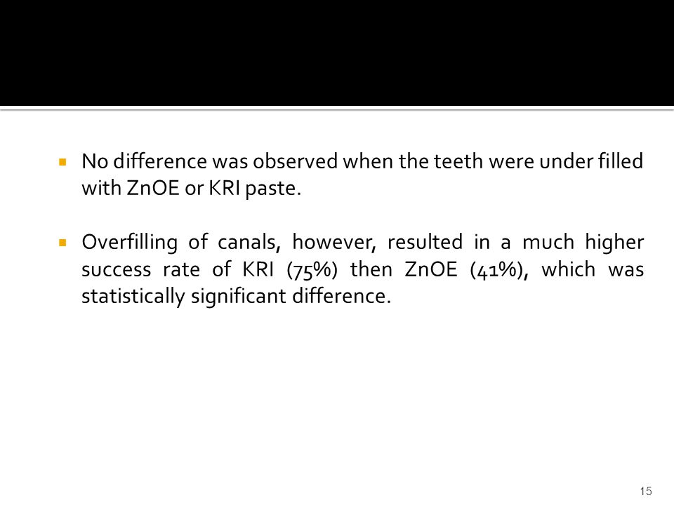 No difference was observed when the teeth were under filled with ZnOE or KRI paste.