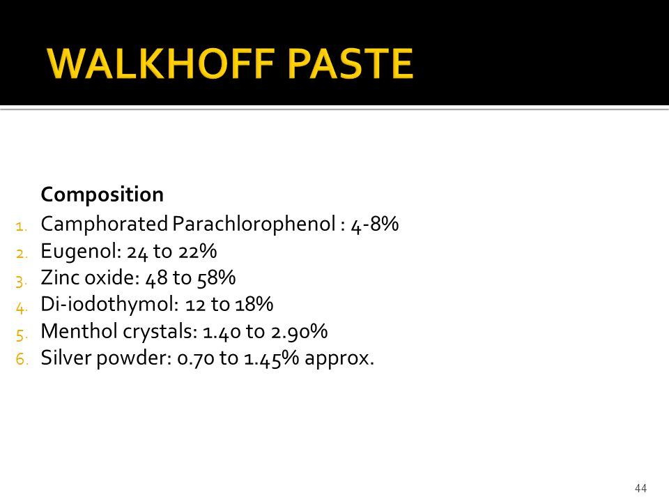 WALKHOFF PASTE Composition Camphorated Parachlorophenol : 4-8%