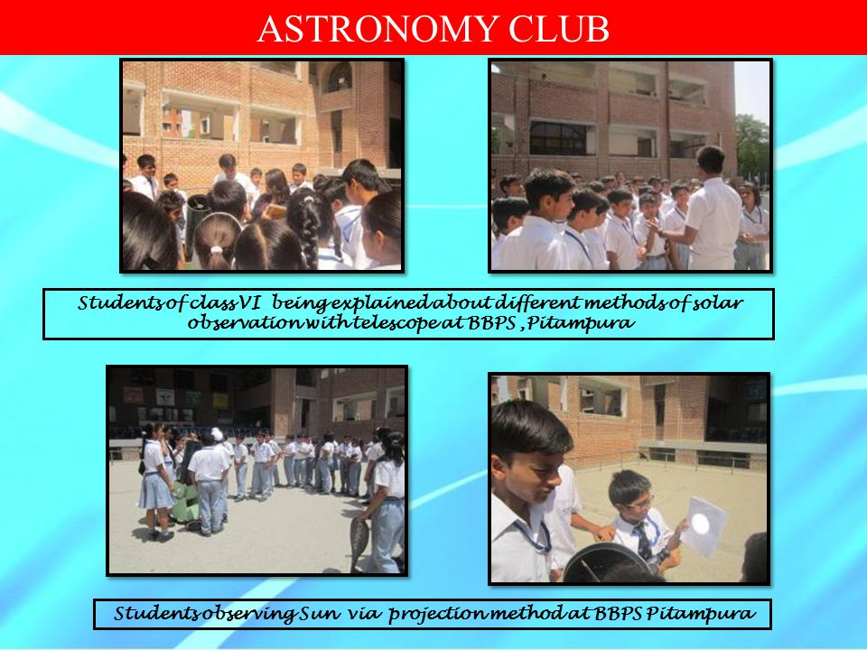 Students observing Sun via projection method at BBPS Pitampura