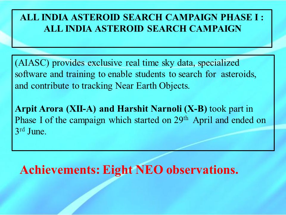 Achievements: Eight NEO observations.