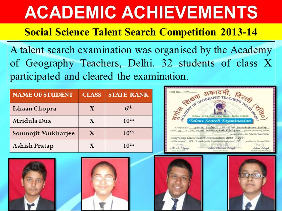 ACADEMIC ACHIEVEMENTS Social Science Talent Search Competition 2013-14